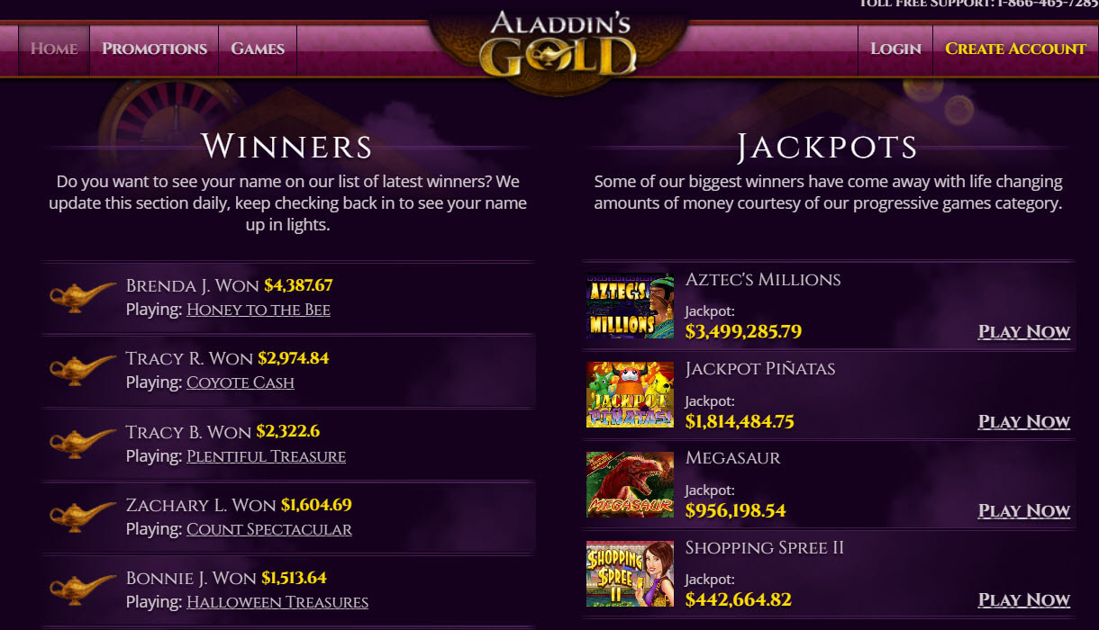 Aladdins Gold No Deposit Bonus Codes
