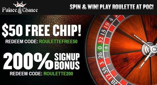 roulette palace of chance casino bonus