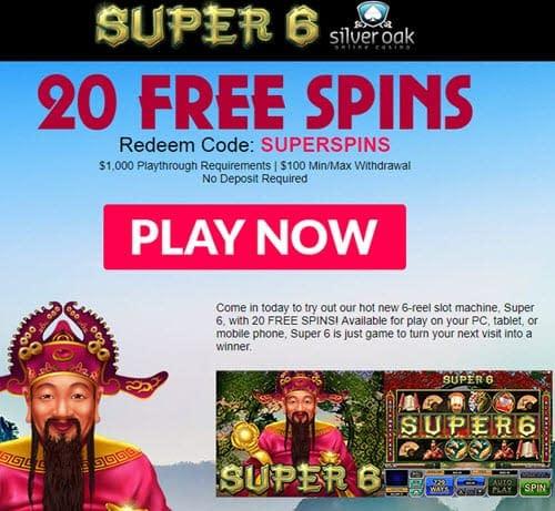 Silver Oak 20 Free Spins