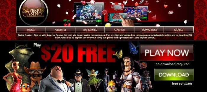 superior casino $20 free welcome bonus