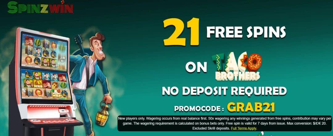 SpinzWin no deposit bonus for UK