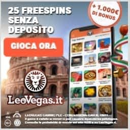 LeoVegas ottieni 25 giri gratis