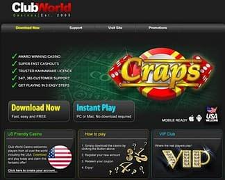 Club World Casino Bonus Craps