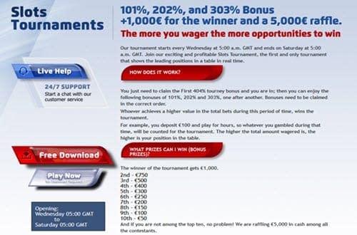 play2win bonus slots tournament