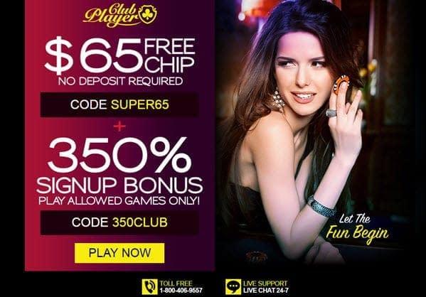 Club Player Casino 65 free chip