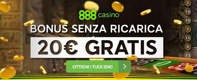 888Casino bonus senza deposito