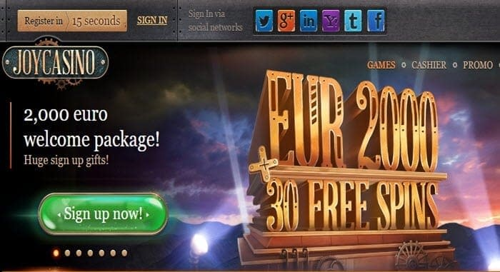 joy casino welcome bonus