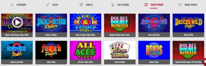 Platinum Play Casino video poker