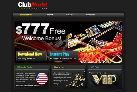 Club World Casino No Deposit Bonus